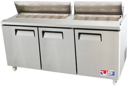 "US INC USSV-73 - 73"" Sandwich / Salad Preparation Refrigerator, (3) Doors, (3) Shelves, (18) Pans, 33 Cu. Ft."