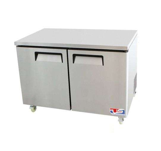 "US Inc USUV-48F - 48.3"" Undercounter Freezer, Flat Top, 2 Section, 2 Solid Door, 2 Shelve, 12 Cu. Ft. - 115v"