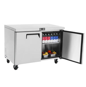"US Inc USUV-60F - 60.3"" Undercounter Freezer, Flat Top, 2 Section, 2 Solid Door, 2 Shelve, 18 Cu. Ft. - 115v"
