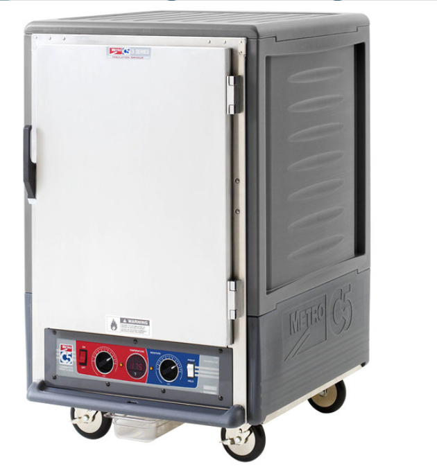 Metro C535-CLFS-U C5 3 Series Insulated Low Wattage Half Size Heated Holding and Proofing Cabinet with Universal Wire Slides and Solid Door - Gray. This low wattage unit operates at 120V and has an output of 1440W.