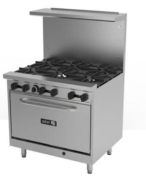 "Asber AER-6-36-E 36"" Economy Gas Restaurant Range with Open Burners"