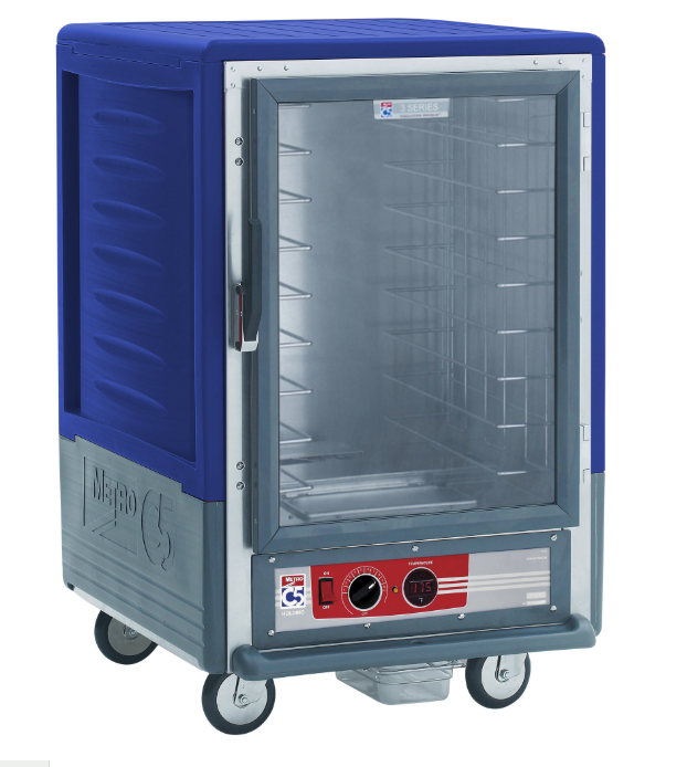 Metro C535-HLFC-4-BU C5 3 Series Insulated Low Wattage Half Size Heated Holding Cabinet with Fixed Wire Slides and Clear Door - Blue. This low wattage unit operates at 120V and has an output of 1440W.