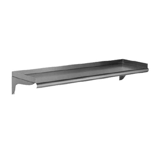 "Eagle Group WS1260-16/4 - 60""x12"" Wall Mount Shelf, Rolled Front Edge, 1.5"" Upturn On Rear & Ends, 16/430 Stainless Steel"