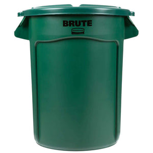 Rubbermaid BRUTE 32 Gallon Container Green Trash Can and Lid, Reinforced Handles