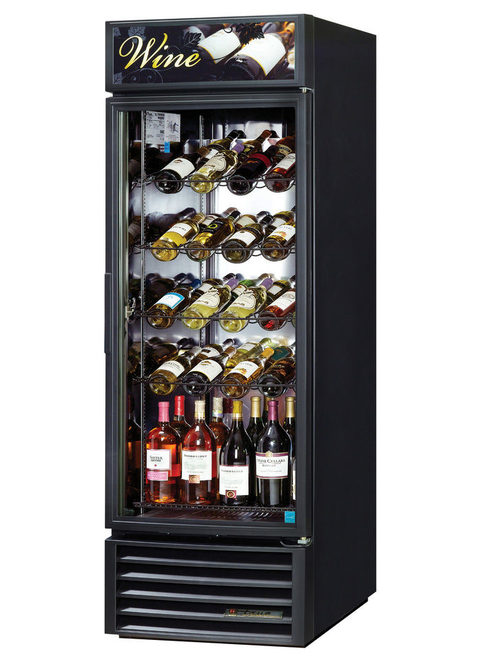 "True GDM-23W-HC~TSL01 -  27"" One Section Wine Cooler w/ (1) Zone - 106 Bottle Capacity, Bottom Mounted, Single Door, 1/3 HP, Black, 115/60/1ph"