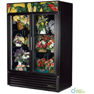 "True GDM-49FC 54"" Floral Cooler Two-Section w/ Swinging Door, Bottom Mount Compressor, Black, 115v"