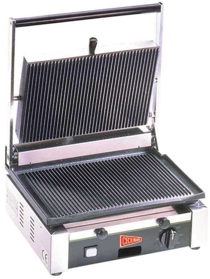 Cecilware TSG1G Commercial Panini Press w/ Cast Iron Grooved Plates, 110v