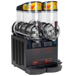 Cecilware NHT2ULBL Twin Slush Machine, 2.5 gallon Bowl Capacity, Manual Fill, Stainless Black Finish, 115v