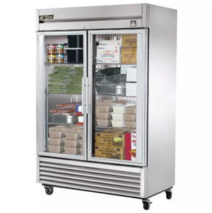 "True T-49FG 54"" Two Section Reach-In Freezer, (2) Glass Doors, 115v"