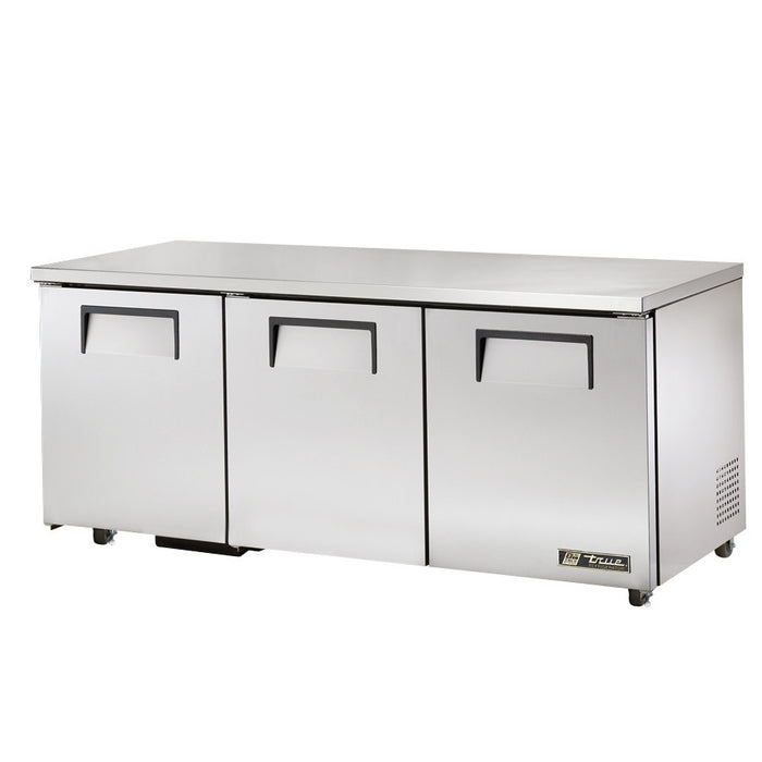 "True TUC-72-HC 72"" W - Undercounter Refrigerator w/ (3) Sections & (3) Doors, 6 Shelves, Bottom Mounted, 1/4HP, 19Cu.ft, 115/60/1ph"