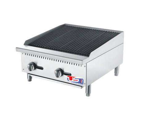 "US Cooking USCBR24 - 24"" Gas Countertop Radiant Charbroiler, 2 Burner - 70,000 BTU/h"