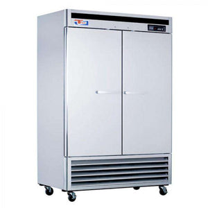 "US Inc USBV-48F - 54.4"" Reach-in Freezer, 2 Section, Bottom Mount, 3 Shelves, 2 Solid Doors, 46 Cu. Ft. - 115V"