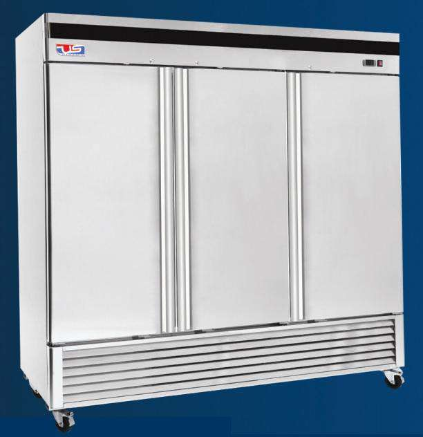 "US Inc USBV-70F - 82"" Reach-in Freezer, 3 Section, Bottom Mount, 9 Shelves, 3 Solid Door, 71 Cu. Ft. - 115V"