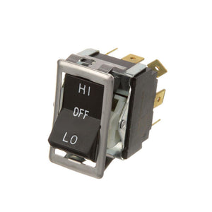 "ROCKER SWITCH, 9 (1/4"" TABS), 7/8"" X 1-1/2"", 3PDT, ON-OFF-ON, 15A/125V,10A/250V, ""HI-OFF-LO"", BLACK ROCKER WITH CHROME METAL BEZEL BLODGETT FA, GZL, ZEPHAIRE"