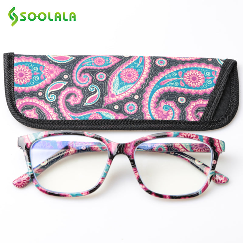 SOOLALA Printed Anti Blue Light Blocking Filter Glasses Women Eye Protection Computer Glasses Optical Frame Prescription