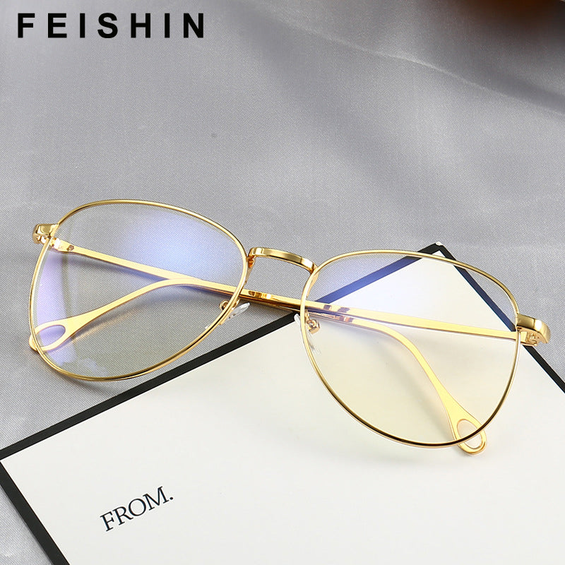 Feishini Computer Glasses Men Gold Frames Rays Radiation Protector Eyewear Metal Unisex Anti Blue Light Glasses Women Optical