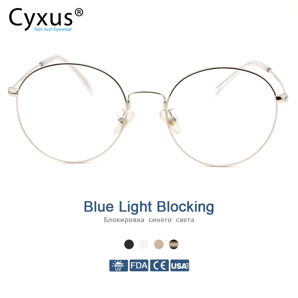 Cyxus Blue Light Blocking Computer Glasses Anti Eye Strain UV Protection Korean Round Metal Frame Gaming Men/Women Eyewear 8090