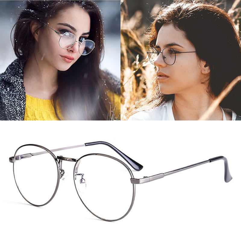 Feishini Round Frame Computer Glasses Women Rays Radiation Gamin Eyewear Frames Metal Unisex Anti Blue Light Glasses Men Print