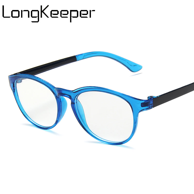 LongKeeper Kids Round Anti-blue Light Glasses Girls Boys Computer Eyeglasses Children Ultralight Blue Clear Lens Spectacles