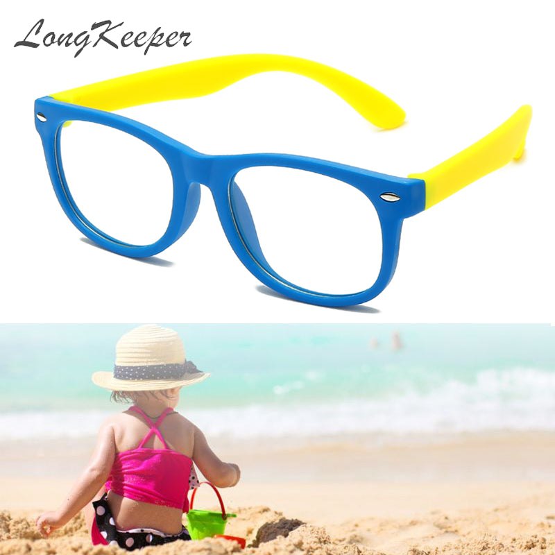 LongKeeper Anti Blue Light Glasses Frame Kids Children Rivet Spectacle Glasses Square TR90 Clear Lens UV400 Eyeglasses