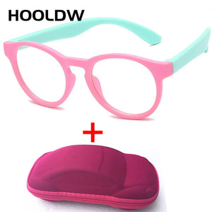 New Anti Blue Light Kids Glasses Round Silicone Children Eyewear Boy Girls Optical Frame Computer Transparent Eyeglasses UV400