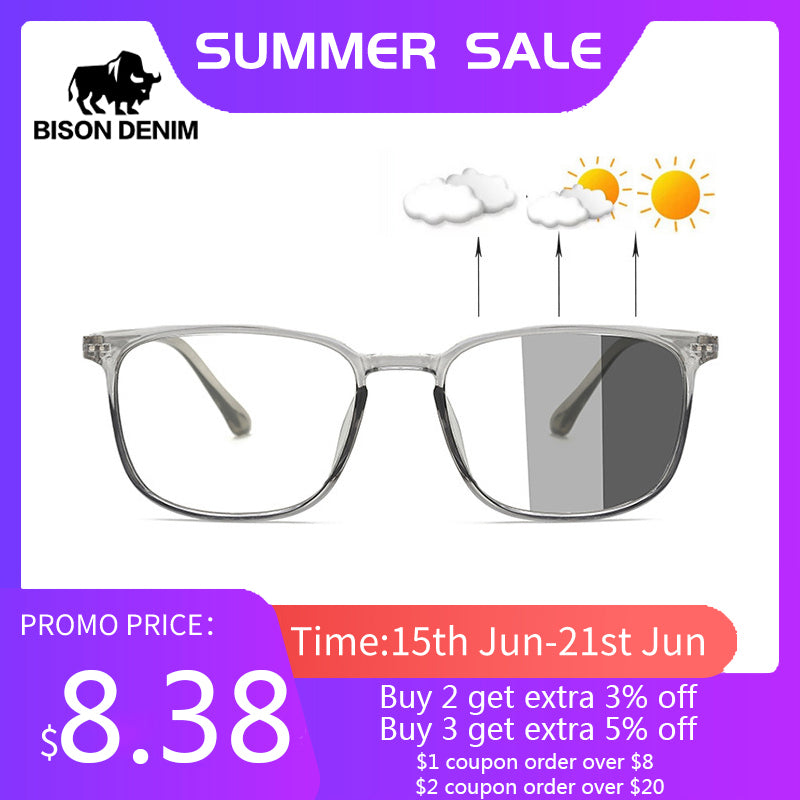 BISON DENIM Photochromic Anti Blue Light Anti-UV 3 in 1 Unisex Glasses Computer Phone Eye Protection Blue Ray Eyewear TR90