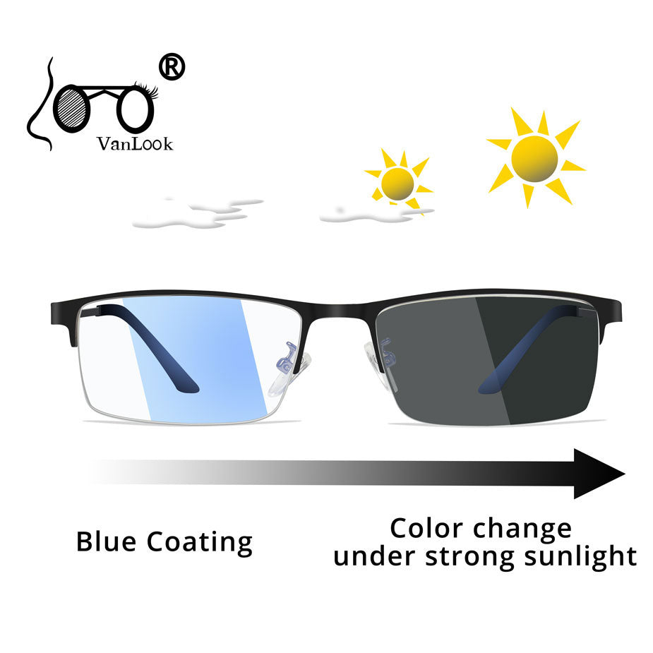 Photochromic Sunglasses Chameleon Lens Blue Light Blocking Men's Glasses for Computer Eyeglasses Gaming Protection Blue Ray