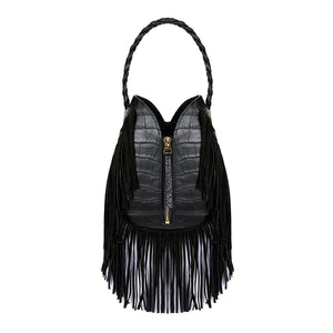 Kate Black Croco Print Bag