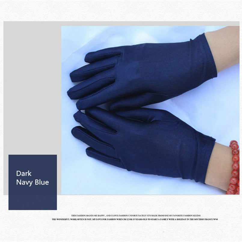 1 Pair Simple Women Elastic Spandex Gloves Etiquette Thin Dance Driving Tight White Gloves Jewelry Gants Femme Hiver