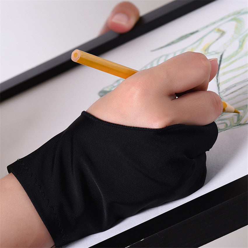 1 Single Professional TwoFinger Apple Pencil Painting Gloves Fingerless Black AntiTouching Drawing Gloves Flat AntiSweat