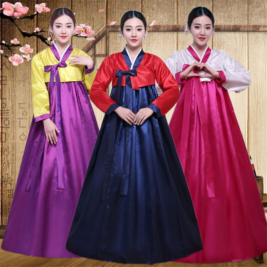 10 Color Korean Traditional Palace Year Minority Dance Performance Dress Full Sleeve Hanbok Costume
