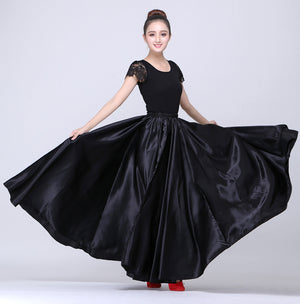 10 Colors Woman Ballroom Belly Dance Costumes Solid Polyester Satin Spanish Gypsy Flamenco Skirt Perforance Dress Stage Wear