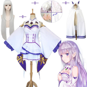 10PcsSet Emilia Dress Re Zero Cosplay Sets Wig Women Cosplay Dress Emilia Cosplay Costume Anime Cosplay Party Halloween Party