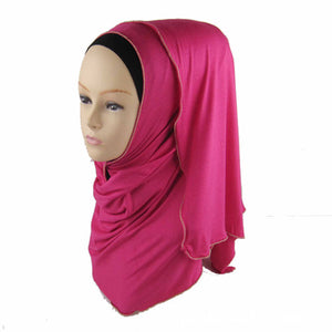 15 Colors Muslim Hijab Scarf Soft Cotton Long Scarf With Zipper Border Headscarf Isamic Scarf