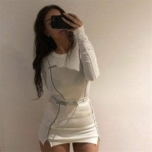 2 Piece Outfits 2019 Autumn Reflective White Sets Long Sleeve T Shirts Top Mini Skirts Sets Tracksuit Clothes