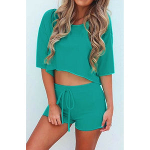 2 Piece Outfits Ladies Tracksuit Set Crop Top Tee Bodycon Short Pants Loose Outfit Sport Solid Casual Clothing
