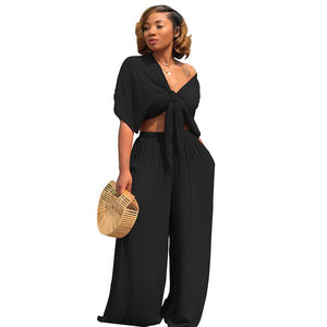 2 Piece Set Women 2020 Summer Set Short Sleeve Bow Tie Up Crop Top Long Wide Leg Pants Set Fashion Ladies Trousers Suits