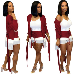 2 Piece Set Women Clothes Autumn Winter Outfits Long Cardigan Top Bodycon Shorts Set Suit Casual Two Piece Matching Sets