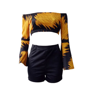 2 Piece Shorts Set Women 2020 Summer Sexy Slash Neck Flare Sleeve Crop Top Short Suit Casual Two Piece Outfits Women Set