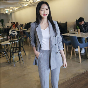 2 Two Piece Set Women Striped Blazer Long Pants Trouser Tracksuit Plus Size Jacket Outfits Double Breasted Office Lady Suit