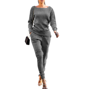 Autumn Winter Women's Loungewear Tracksuit Two Piece Sets Long Sleeve Casual Ribbed Sweatshirt + Pant Sweat Suits