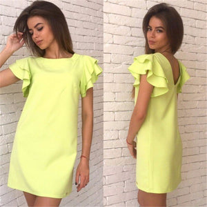 Summer Casual Style Butterfly Sleeve Dress Red Blue Yellow Backless Beach Mini Party Club Dresses Vestidos