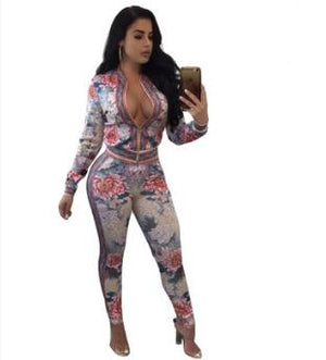 Autumnwinter Fashion Sexy Women Long Sleeve Printed Two-piece Suits Casual Nightclub Party Tracksuit 5411