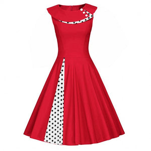 Audrey Hepburn Style Robe Pin Up Vestidos Summer Retro Polka Dot Casual Dress Sleeveless Women Office Dresses
