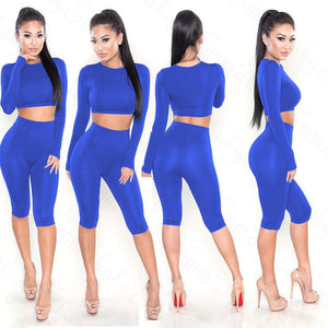 Fashion Two-piece Women Crop Top Blouse + Pants Playsuit Jumpsuit Romper Set Sexy Solid Bodycon Long Sleeve Party Clothing