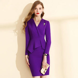 Spring Autumn Winter Dress Suit Formal Office Business Wear Ladies Dress Slim Plus Size Xxxl 4Xl 5Xl