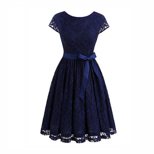 Robe Femme Vintage Floral Lace Dress Women Short Sleeve 50S 60S Retro Style Rockabilly Swing Wedding Party Dress