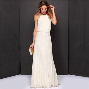 Summer Women Dress Fashion Hang Neck Off Shoulder Pure Color Chiffon Sleeveless Young Full Dress W8099