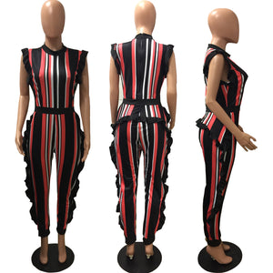 Summer Print Stripe Jumpsuit Women Ruffles Sleeveless Skinny Party Jumpsuits Long Rompers Plus Size 3Xl Bodysuit