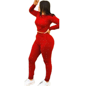 Winter Tracksuit Overalls Autumn Pearl Sweatshirt+pant Sportswear Fashion Sexy Women's Set Two Pieces Suits Casual N9065